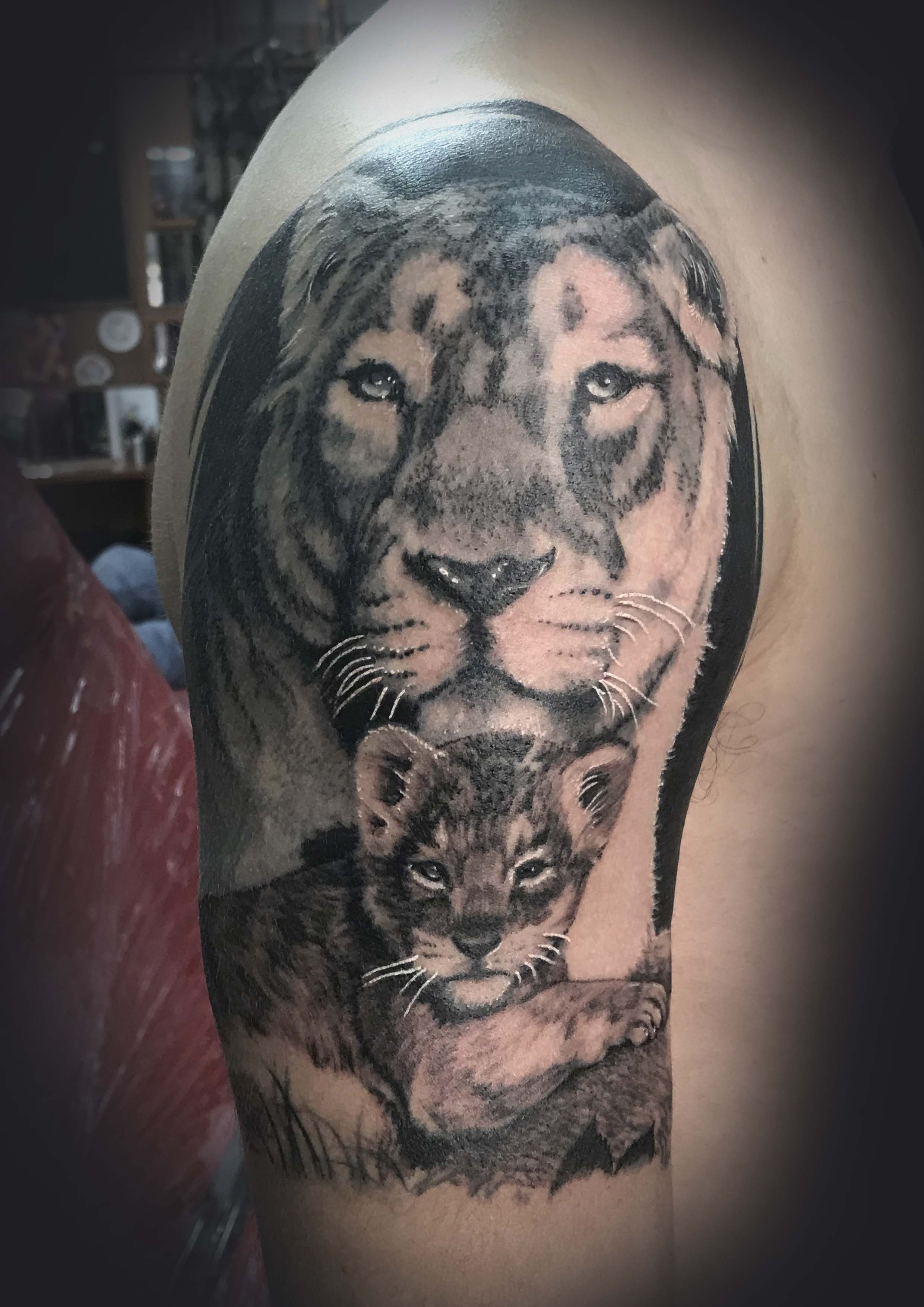 Lion Female and Baby Tattoo