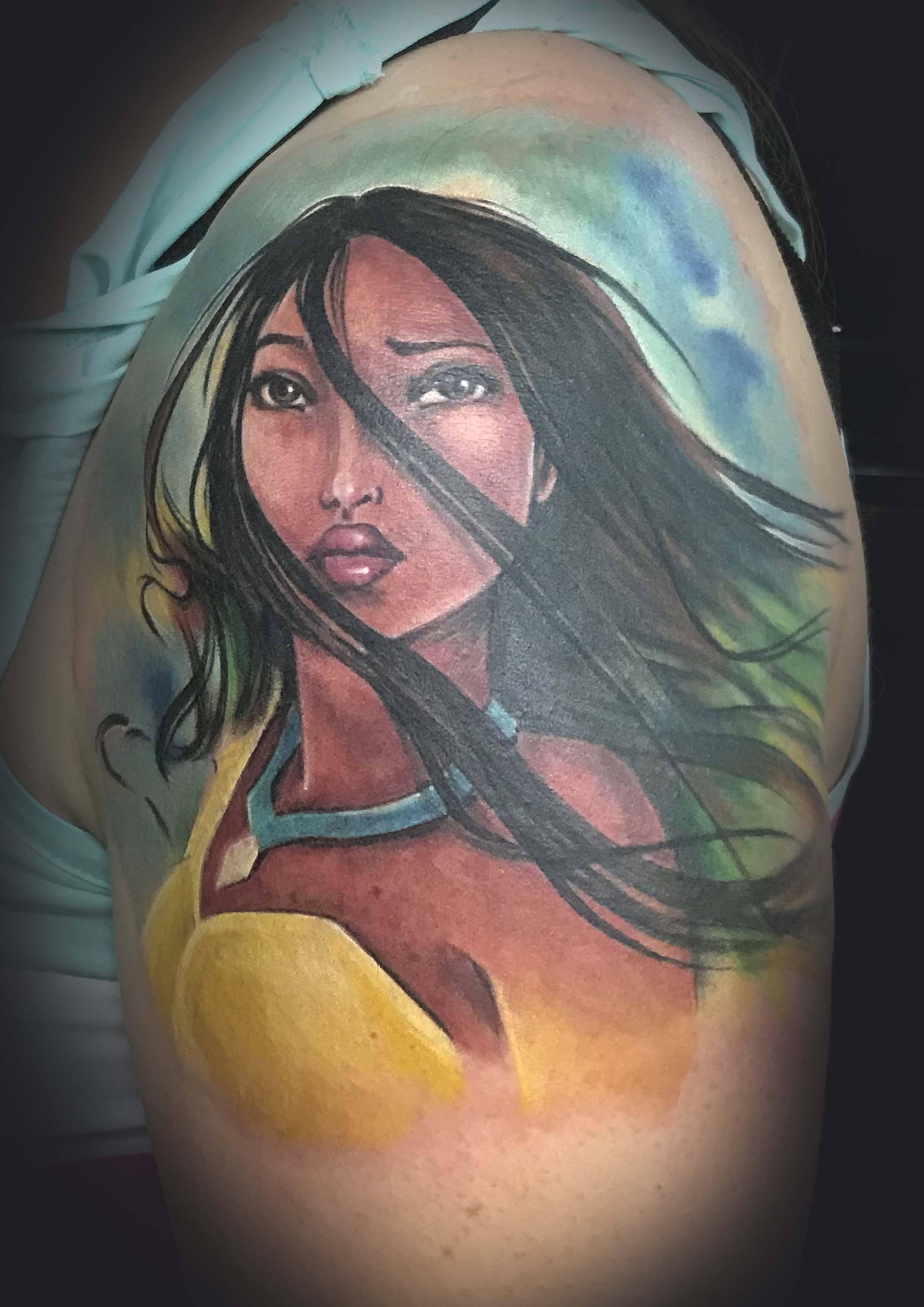 Pocahontas Portrait Tattoo