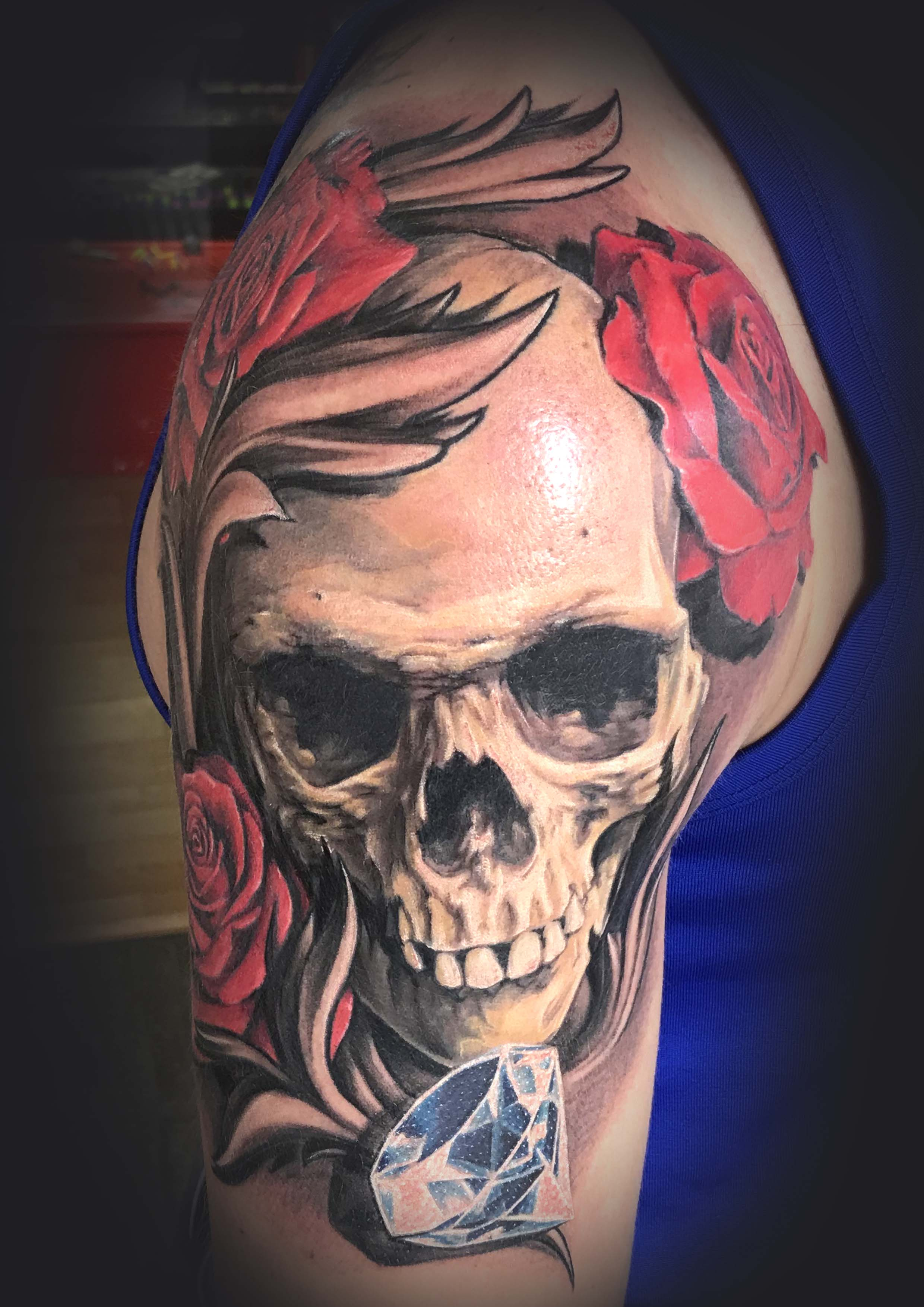 Skull with Diamond and Roses Tattoo